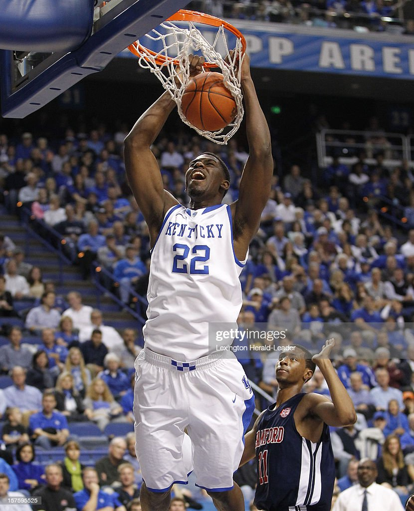 Kentucky's Alex Poythress (22) dunks with authority against Samford at Rupp Arena on Tuesday, December 4, 2012, in Lexington, Kentucky. Kentucky defeated Samford 88-56.