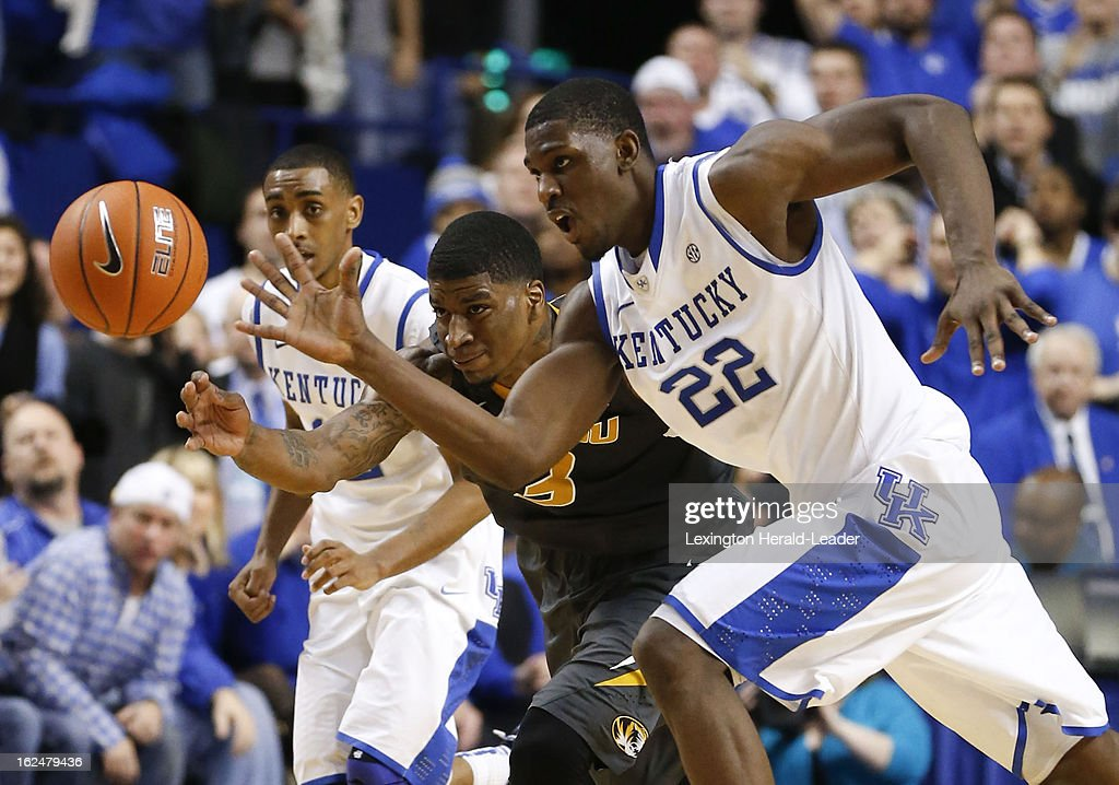 Kentucky's Alex Poythress (22) steals the ball from Missouri's Tony Criswell at Rupp Arena in Lexington, Kentucky, Saturday, February 23, 2013. Kentucky topped Missouri, 90-83.