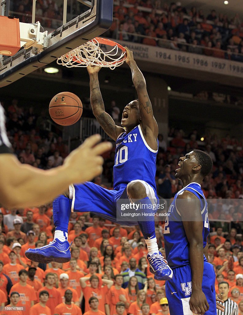 Kentucky's Archie Goodwin (10) dunks against Auburn at Auburn Arena in Auburn, Alabama, on Saturday, January 19, 2013. Kentucky won, 75-53.