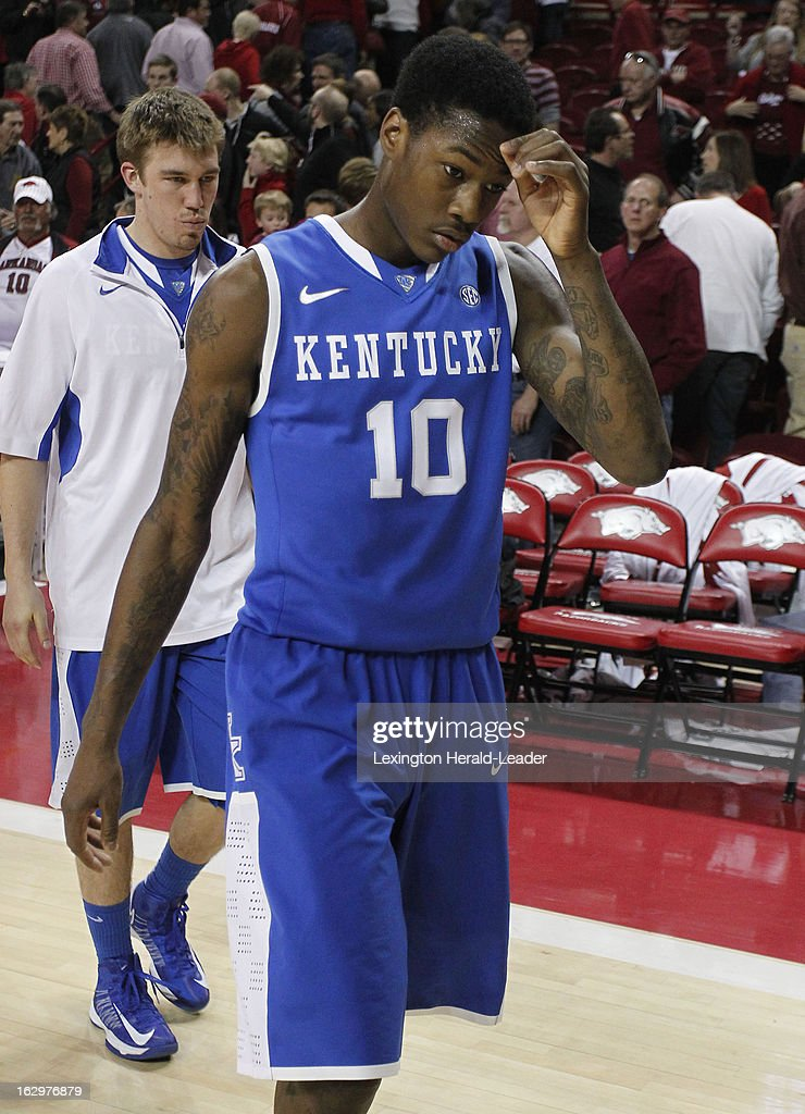 Kentucky's Archie Goodwin (10) leaves the court after a 73-60 loss to Arkansas at Bud Walton Arena in Fayetteville, Arkansas, on Saturday, March 2, 2013.