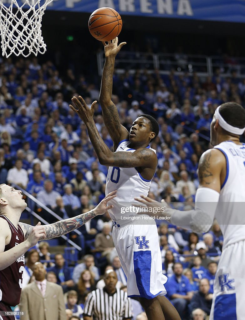 Kentucky's Archie Goodwin (10) puts in a floater in the lane against Mississippi State at Rupp Arena in Lexington, Kentucky, on Wednesday, February 27, 2013.