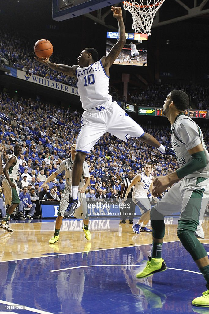 Kentucky's Archie Goodwin (10) soars in for a rebound against Eastern Michigan at Rupp Arena in Lexington, Kentucky, on Wednesday, January 2, 2013. Kentucky routed the visiting Eagles, 90-38.