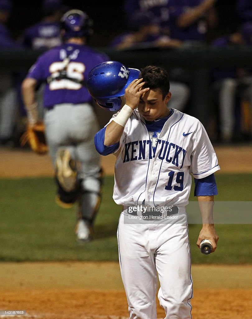 Kentucky's Austin Causino reacts to striking out and stranding two base runners in the bottom of the sixth inning against LSU in Lexington Kentucky...