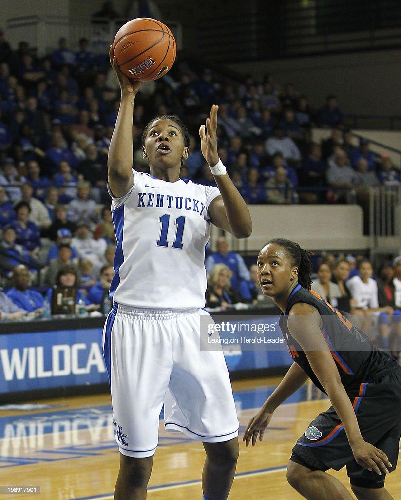 Kentucky's DeNesha Stallworth (11) puts up a shot against Florida at Memorial Coliseum in Lexington, Kentucky, on Thursday, January 3, 2013.