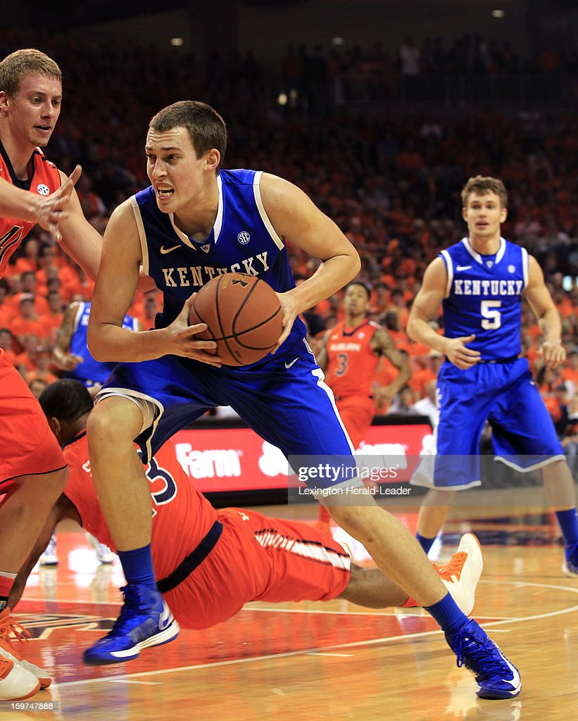 Kentucky's Kyle Wiltjer drives on Auburn's Rob Chubb at Auburn Arena in Auburn, Alabama, on Saturday, January 19, 2013. Kentucky won, 75-53.