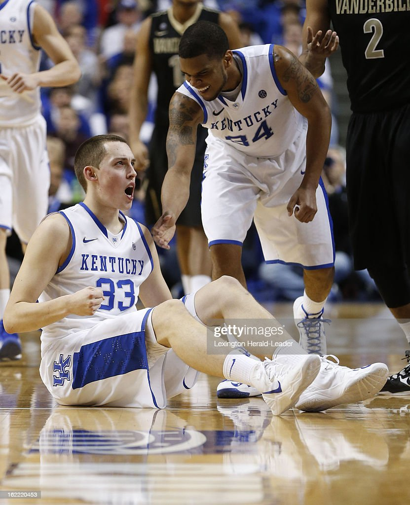 Kentucky's Kyle Wiltjer (33) is pumped after forcing a turnover as Kentucky defeated Vanderbilt, 74-70, on Wednesday, February 20, 2013, at Rupp Arena in Lexington, Kentucky.