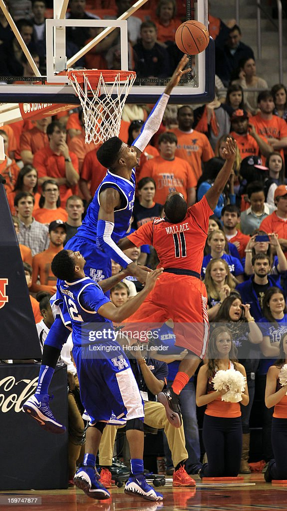 Kentucky's Nerlens Noel (3) blocks a shot by Auburn's Josh Wallace (11) at Auburn Arena in Auburn, Alabama, on Saturday, January 19, 2013. Kentucky won, 75-53.