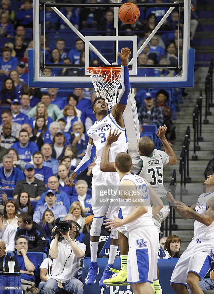 Kentucky's Nerlens Noel (3) blocks the shot of Eastern Michigan's Daylen Harrison (35) at Rupp Arena in Lexington, Kentucky, on Wednesday, January 2, 2013. Kentucky routed the visiting Eagles, 90-38.