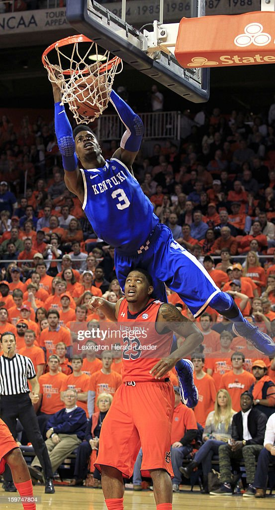 Kentucky's Nerlens Noel (3) dunks over Auburn's Frankie Sullivan (23) at Auburn Arena in Auburn, Alabama, on Saturday, January 19, 2013. Kentucky won, 75-53.