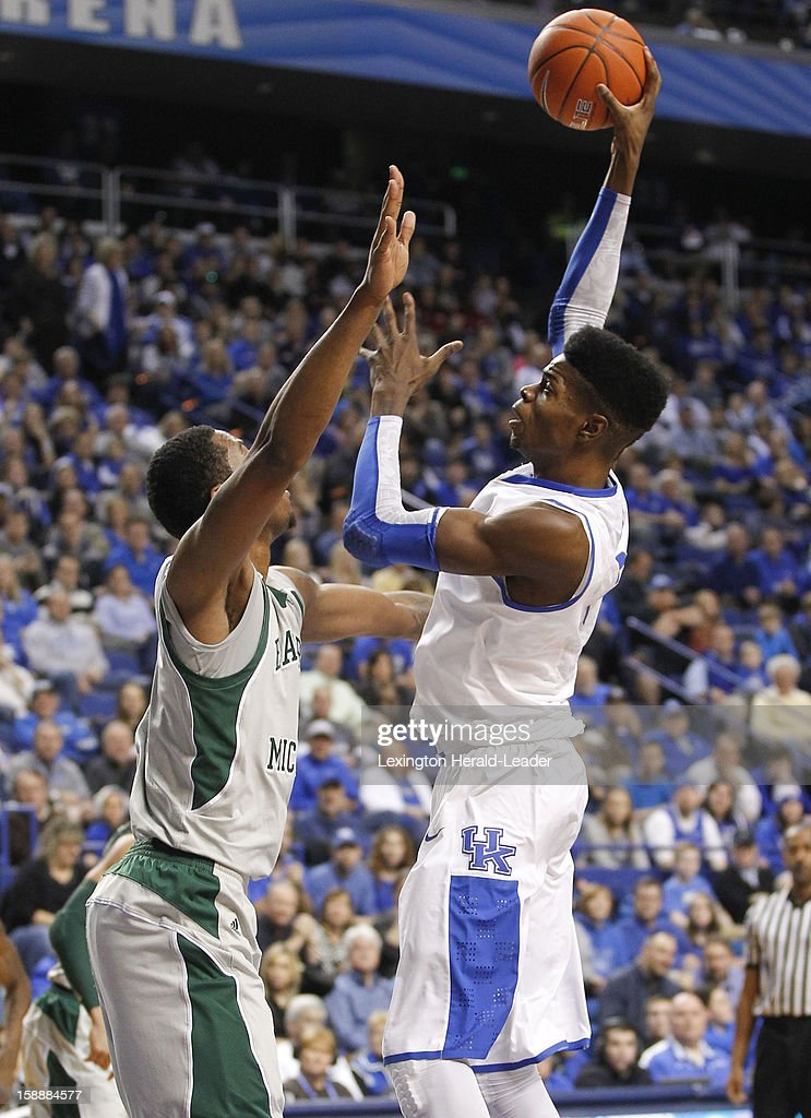 Kentucky's Nerlens Noel (3) puts in a short jumper in the first half against Eastern Michigan at Rupp Arena in Lexington, Kentucky, on Wednesday, January 2, 2013. Kentucky routed the visiting Eagles, 90-38.