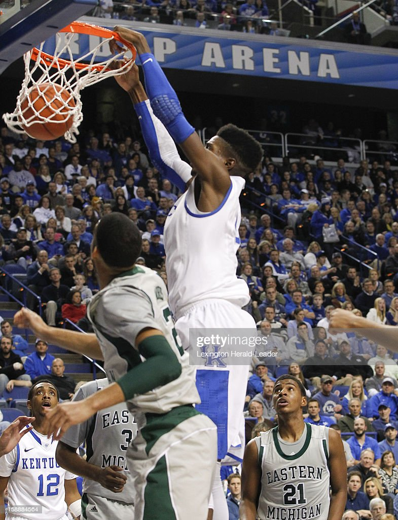 Kentucky's Nerlens Noel (3) slams home a rebound in the first half against Eastern Michigan at Rupp Arena in Lexington, Kentucky, on Wednesday, January 2, 2013. Kentucky routed the visiting Eagles, 90-38.
