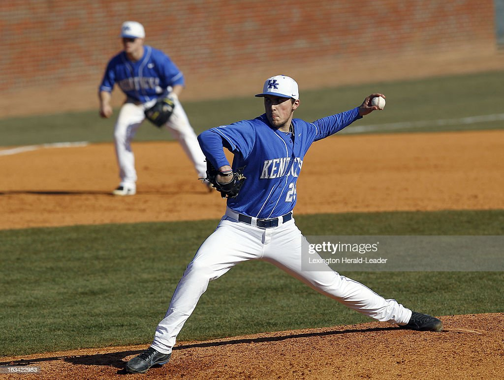 Kentucky's Ryne Combs pitches in the seventh inning against Michigan State at Cliff Hagan Stadium in Lexington, Kentucky, on Saturday, March 9, 2013. Michigan State won, 6-1, as Garner allowed only one run on four hits.