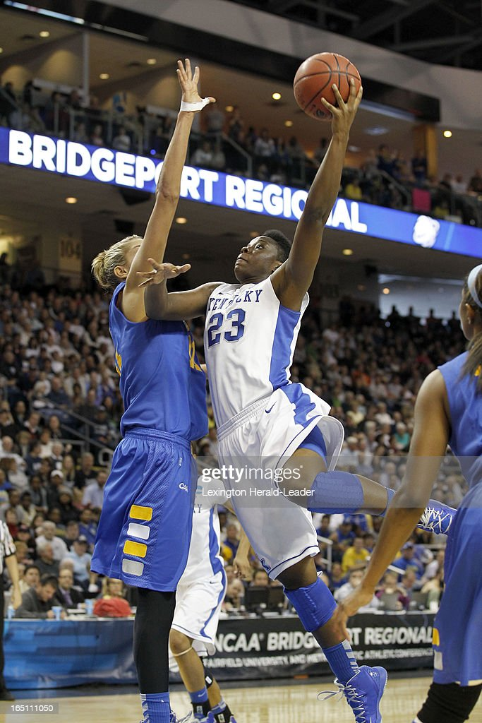 Kentucky's Samarie Walker (23) shoots over Delaware's Elena Delle Donne (11) in their NCAA Tournament East Region Sweet 16 game on Saturday, March 30, 2013, at the Webster Bank Arena at Harbor Yard in Bridgeport, Connecticut. Kentucky advanced, 69-62.