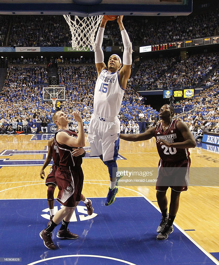 Kentucky's Willie Cauley-Stein (15) dunks in the first half against Mississippi State at Rupp Arena in Lexington, Kentucky, on Wednesday, February 27, 2013.