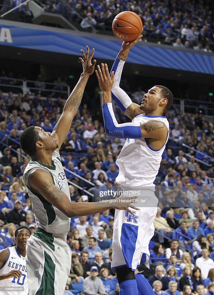 Kentucky's Willie Cauley-Stein, right, puts up a jumper against Eastern Michigan at Rupp Arena in Lexington, Kentucky, on Wednesday, January 2, 2013. Kentucky routed the visiting Eagles, 90-38.