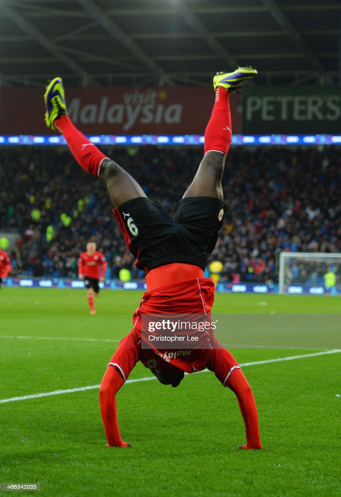 <a gi-track='captionPersonalityLinkClicked' href=/galleries/search?phrase=Kenwyne+Jones&family=editorial&specificpeople=553966 ng-click='$event.stopPropagation()'>Kenwyne Jones</a> of Cardiff City celebrates as he scores their second goal during the Barclays Premier League match between Cardiff City and Norwich City at Cardiff City Stadium on February 1, 2014 in Cardiff, Wales.