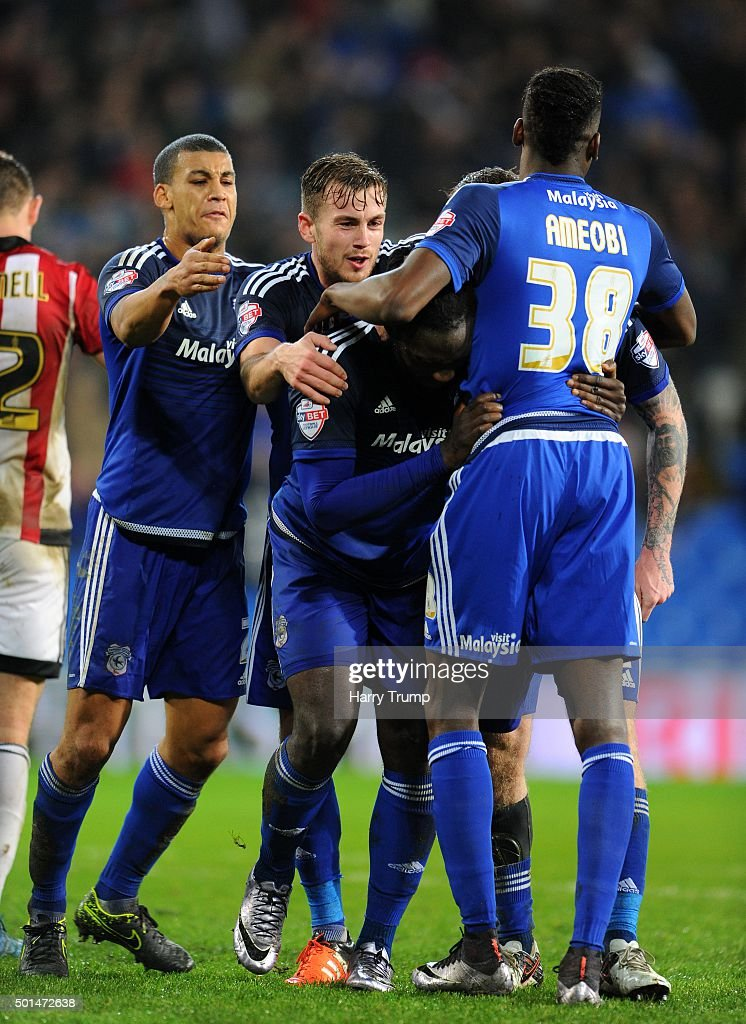<a gi-track='captionPersonalityLinkClicked' href=/galleries/search?phrase=Kenwyne+Jones&family=editorial&specificpeople=553966 ng-click='$event.stopPropagation()'>Kenwyne Jones</a> of Cardiff City(C) celebrates his sides third goal during the Sky Bet Championship match between Cardiff City and Brentford at the Cardiff City Stadium on December 15, 2015 in Cardiff, Wales.
