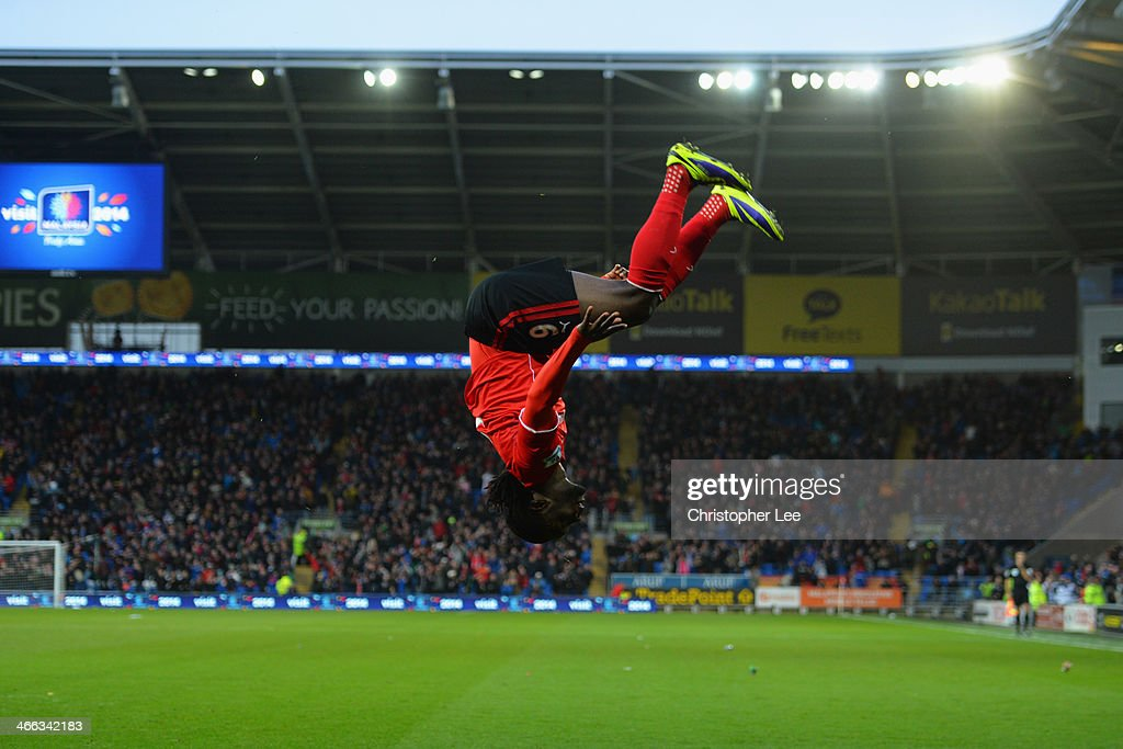 Kenwyne Jones of Cardiff City celebrates with a somersault as he scores their second goal during the Barclays Premier League match between Cardiff...