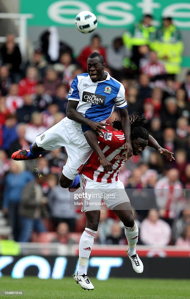 <a gi-track='captionPersonalityLinkClicked' href=/galleries/search?phrase=Kenwyne+Jones&family=editorial&specificpeople=553966 ng-click='$event.stopPropagation()'>Kenwyne Jones</a> of Stoke City battles for the ball with <a gi-track='captionPersonalityLinkClicked' href=/galleries/search?phrase=Christopher+Samba&family=editorial&specificpeople=739114 ng-click='$event.stopPropagation()'>Christopher Samba</a> of Blackburn Rovers during the Barclays Premier League match between Stoke City and Blackburn Rovers at the Britannia Stadium on October 2, 2010 in Stoke on Trent, England.