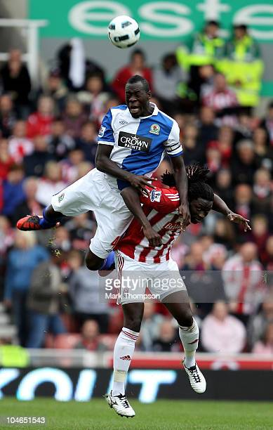 Kenwyne Jones of Stoke City battles for the ball with Christopher Samba of Blackburn Rovers during the Barclays Premier League match between Stoke...