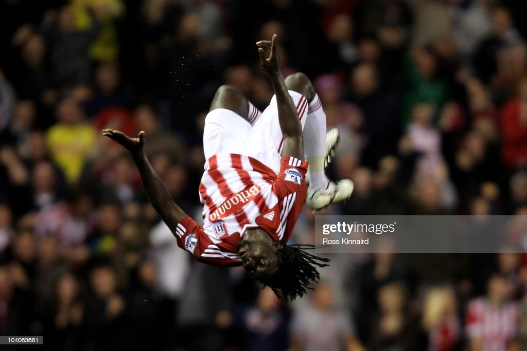 <a gi-track='captionPersonalityLinkClicked' href=/galleries/search?phrase=Kenwyne+Jones&family=editorial&specificpeople=553966 ng-click='$event.stopPropagation()'>Kenwyne Jones</a> of Stoke City celebrates scoring his team's first goal during the Barclays Premier League match between Stoke City and Aston Villa at The Britannia Stadium on September 13, 2010 in Stoke on Trent, England.