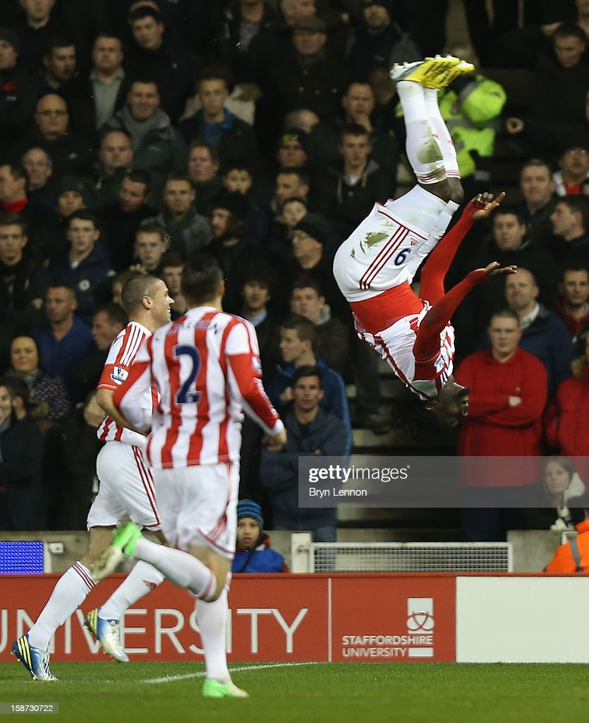 Kenwyne Jones of Stoke City celebrates scoring his team's second goal during the Barclays Premier League match between Stoke City and Liverpool at the Britannia Stadium on December 26, 2012, in Stoke-on-Trent, England.