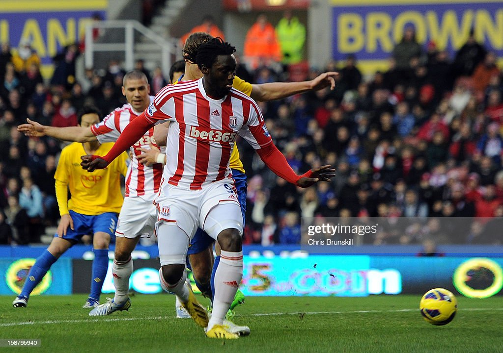 Kenwyne Jones of Stoke City scores his side's first goal during the Barclays Premier League match between Stoke City and Southampton at Britannia Stadium on December 29, 2012 in Stoke on Trent, England.