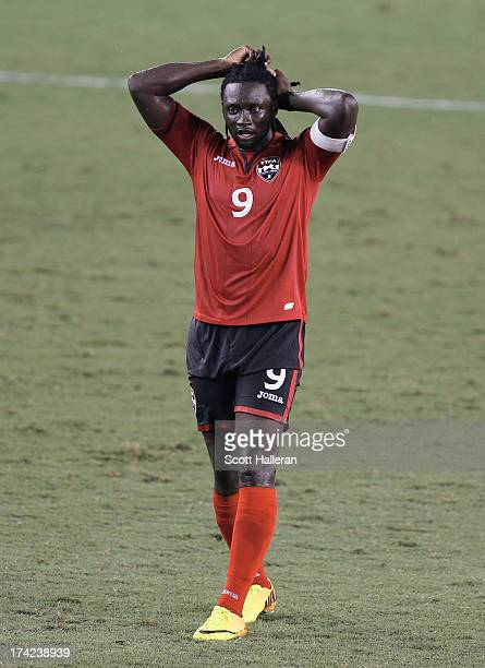 Kenwyne Jones of Trinidad Tobago waits on the field against Honduras during the CONCACAF Gold Cup game at BBVA Compass Stadium on July 15 2013 in...