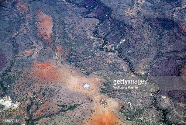 Kenya Aerial View Of Masai Village