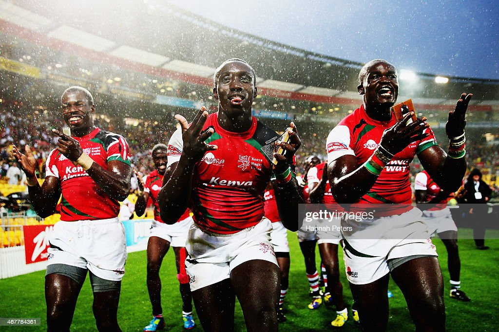Kenya celebrate after winning the bowl final between Kenya and Scotland at Westpac Stadium on February 8, 2014 in Wellington, New Zealand.