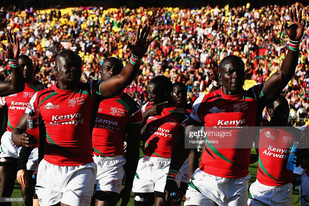 Kenya celebrate after winning the Semifinal match against New Zealand during the 2013 Wellington Sevens at Westpac Stadium on February 2, 2013 in Wellington, New Zealand.