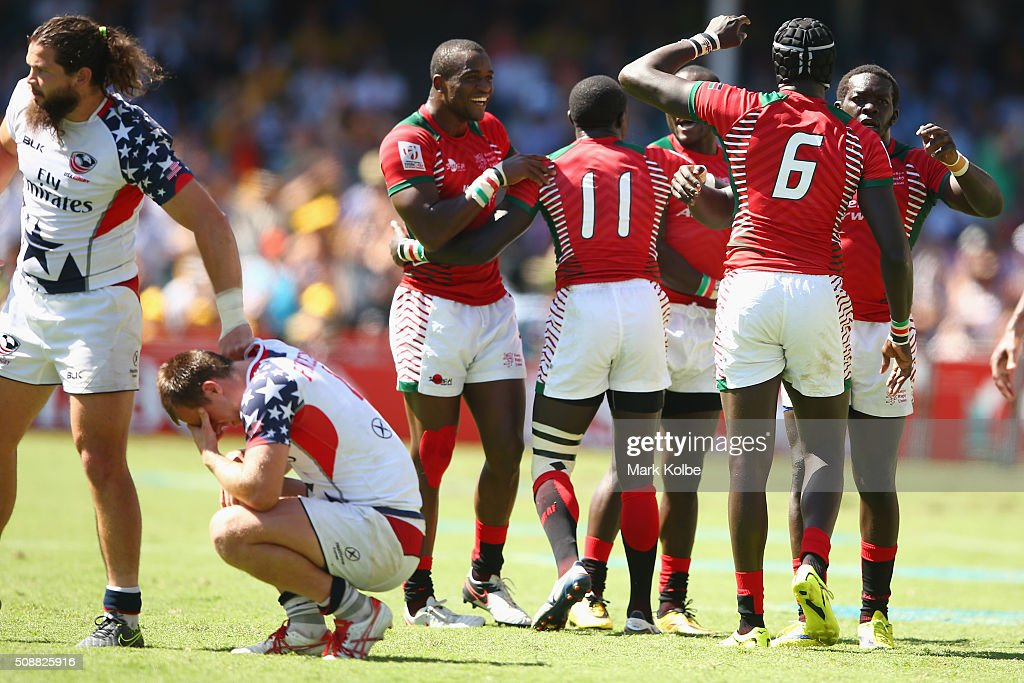 Kenya celebrate victory during the 2016 Sydney Sevens plate semi final match between Kenya and the United States of America at Allianz Stadium on February 7, 2016 in Sydney, Australia.