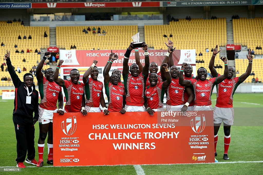 Kenya celebrate winning the Trophy Final over Australia during the 2017 Wellington Sevens at Westpac Stadium on January 29, 2017 in Wellington, New Zealand.