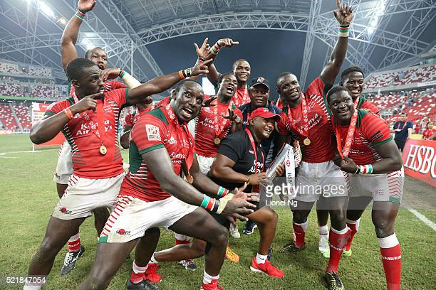 Kenya celerbate with the trophy after winning the 2016 Singapore Sevens Cup Final Match between Fiji and Kenya during the HSBC Singapore Sevens the...