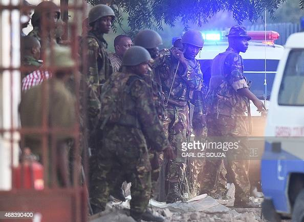 Kenya Defence Forces are pictured after they ended a siege by gunmen in the university on April 2 2015 in the northeastern town of Garissa At least...