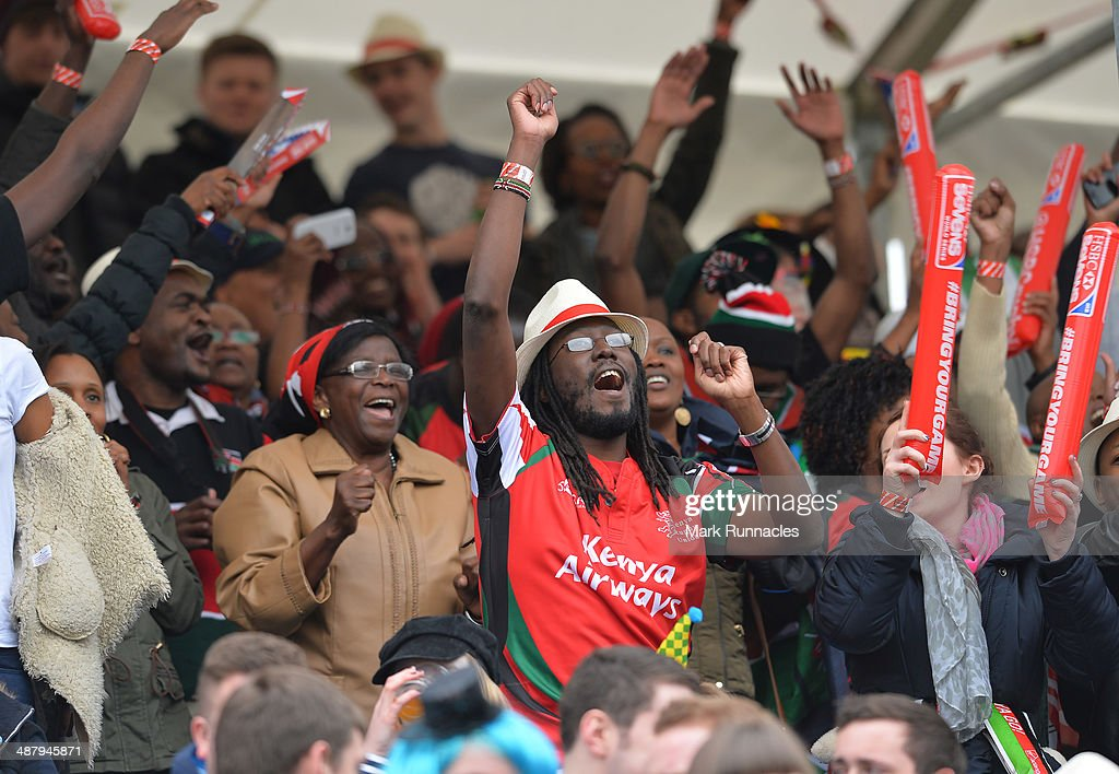 A Kenya fan cheers during the Fiji v Kenya match at the IRB Glasgow Sevens - Day One at Scotstoun Stadium on May 3, 2014 in Glasgow, Scotland.