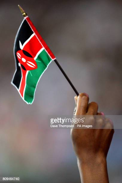 A Kenya fan flies a flag in support of the team