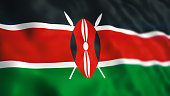 3d Render Kenya Flag Close-up (Depth Of Field)