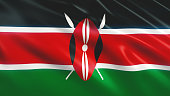 3d Render Kenya Flag (Close-up)
