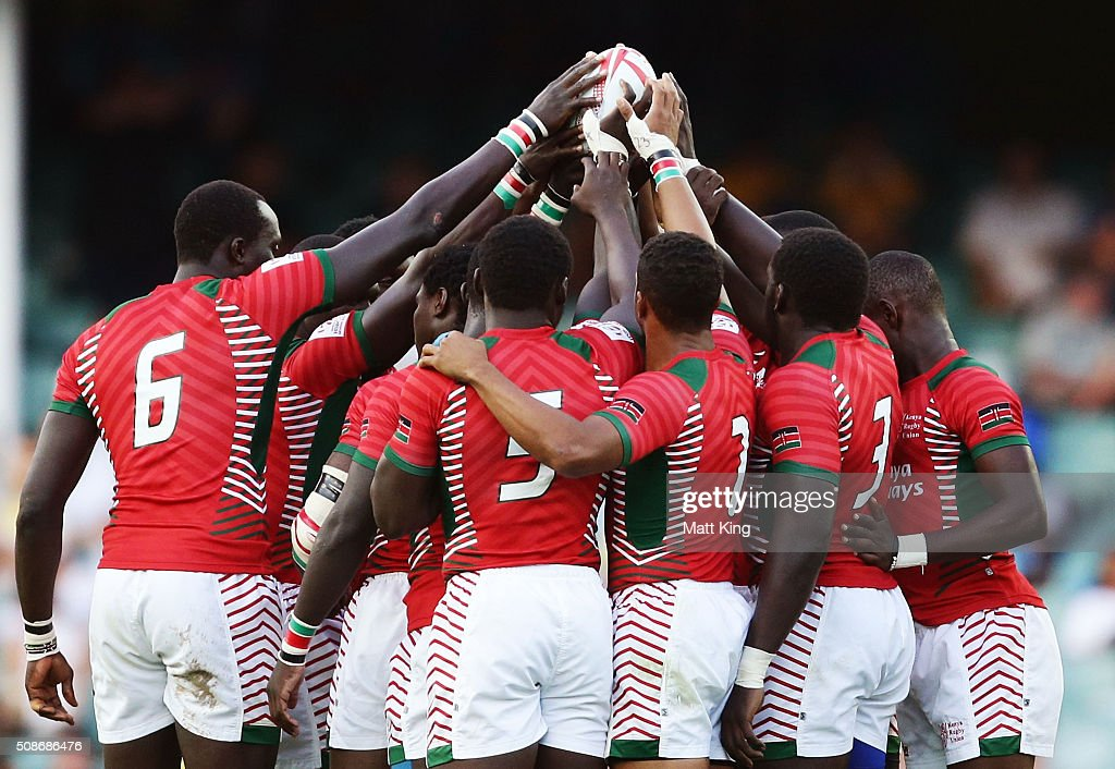 Kenya form a huddle prior to kickoff during the 2016 Sydney Sevens match between South Africa and Kenya at Allianz Stadium on February 6, 2016 in Sydney, Australia.