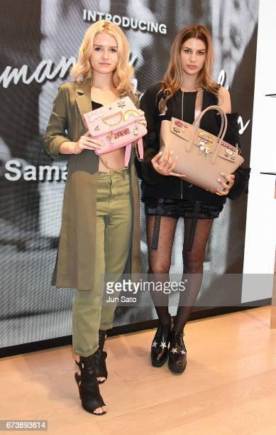 Kenya KinskiJones and Lottie Moss visit at Samantha Thavasa Digital Popup Omotesando Store on April 27 2017 in Tokyo Japan