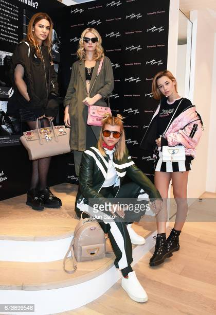 Kenya KinskiJones Lottie Moss Sofia Richie and Sarah Snyder visit at Samantha Thavasa Popup Digital Omotesando Store on April 27 2017 in Tokyo Japan