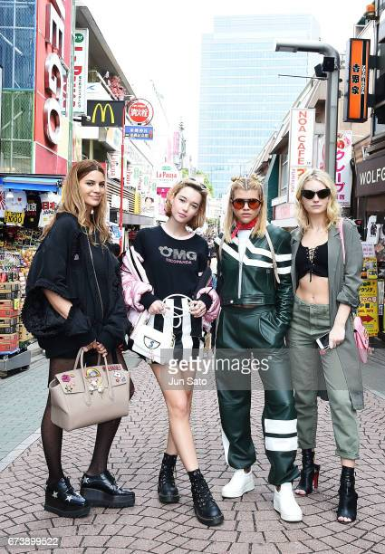 Kenya KinskiJones Sarah Snyder Sofia Richie and Lottie Moss sighting Harajuku street on April 27 2017 in Tokyo Japan