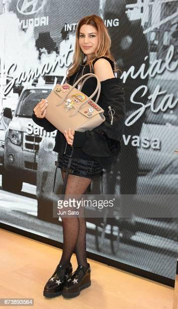 Kenya KinskiJones visits Samantha Thavasa Digital Popup Omotesando Store on April 27 2017 in Tokyo Japan
