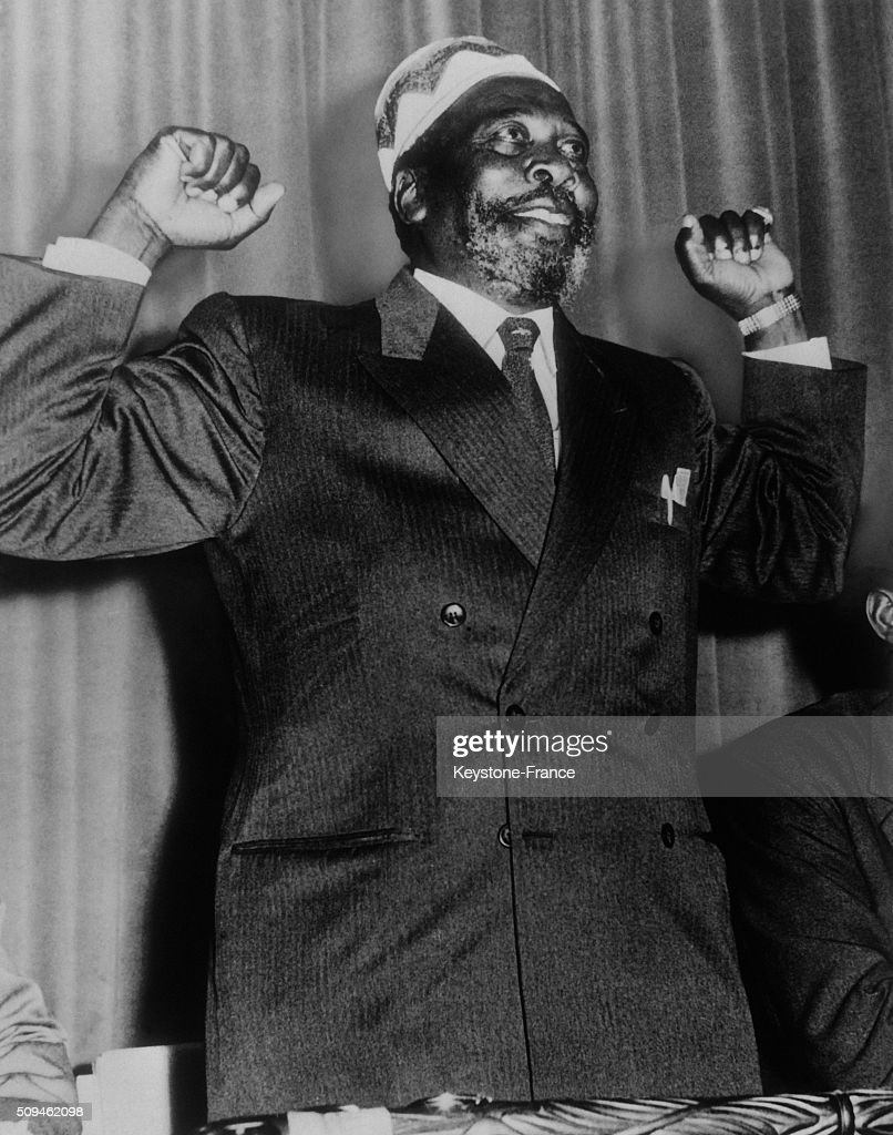 Kenya Leader Chief Mau Mau <a gi-track='captionPersonalityLinkClicked' href=/galleries/search?phrase=Jomo+Kenyatta&family=editorial&specificpeople=211508 ng-click='$event.stopPropagation()'>Jomo Kenyatta</a> At a Press Conference, in London, United Kingdom, in April 1962.