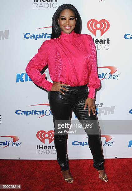 Kenya Moore arrives at 1027 KIIS FM's Jingle Ball at Staples Center on December 4 2015 in Los Angeles California