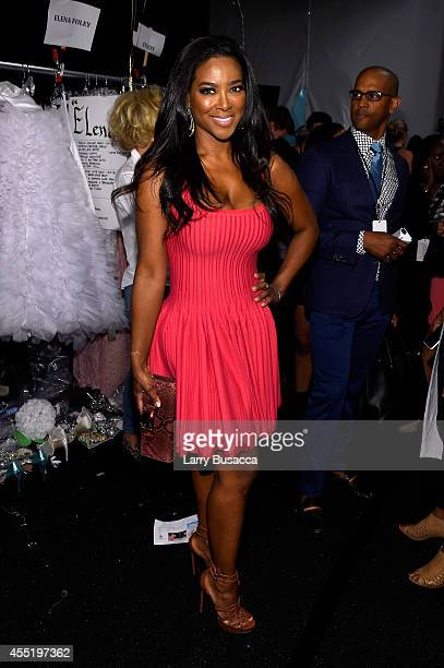 Kenya Moore poses backstage at the Betsey Johnson fashion show during MercedesBenz Fashion Week Spring 2015 at The Salon at Lincoln Center on...