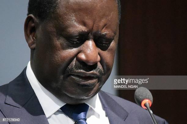 Kenya opposition leader Raila Odinga speaks at the Center for Strategic and International Studies on November 9 2017 in Washington DC / AFP PHOTO /...