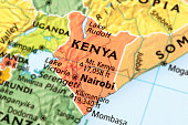 Map of Kenya. A detail from the World Map.