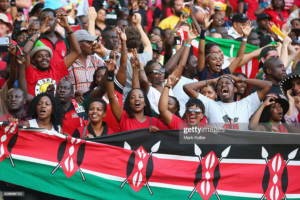 Kenya supporters in the crowd enjoy the atmosphere during the 2016 Sydney Sevens at Allianz Stadium on February 6, 2016 in Sydney, Australia.
